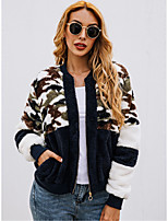 cheap -Women's Daily / Going out Street chic Fall & Winter Regular Coat, Camo / Camouflage Turndown Long Sleeve Polyester Black / Royal Blue