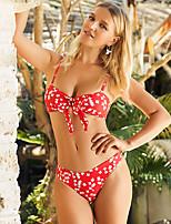 cheap -Women's Basic Boho Red Triangle Cheeky Bikini Swimwear - Floral Color Block Backless S M L Red