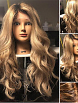 cheap -Synthetic Wig Wavy Asymmetrical Wig Long Ombre Blonde Synthetic Hair 27 inch Women's Best Quality Blonde Ombre