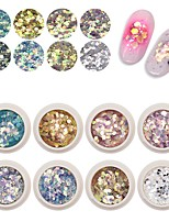 cheap -8 Colors Mermaid Glitter Flakes Sparkly 3D Hexagon Mixed Shaped Colorful Nail Sequins Spangles Polish Manicure Nails Art Decorations