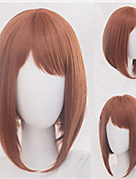 cheap -Synthetic Wig kinky Straight Asymmetrical Wig Short Golden Brown Synthetic Hair 5 inch Women's Best Quality Blonde Brown