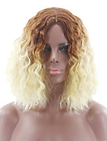 cheap -Synthetic Wig Curly Asymmetrical Wig Short Ombre Color Synthetic Hair 7 inch Women's Best Quality Ombre Mixed Color