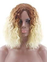 abordables -Perruque Synthétique Bouclé Coupe Asymétrique Perruque Court Couleur Ombre Cheveux Synthétiques 7 pouce Femme Meilleure qualité A Ombre Couleur mixte