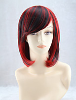 cheap -Synthetic Wig Straight Bob Wig Medium Length Black / Red Synthetic Hair 15 inch Women's Best Quality Black