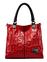 cheap -Women's Zipper PU Top Handle Bag Solid Color Black / Red