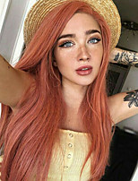cheap -Synthetic Lace Front Wig Straight Side Part Lace Front Wig Long Orange Synthetic Hair 18-26 inch Women's Soft Adjustable Party Pink