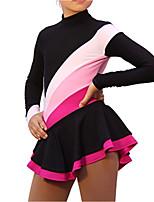 abordables -Robe de Patinage Artistique Femme Fille Patinage Robes Noir Spandex Haute élasticité Entraînement Compétition Tenue de Patinage Fait à la main Mosaïque Manches Longues Patinage sur glace Patinage