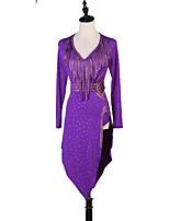 abordables -Danse latine Robes Femme Entraînement Chinlon Ceinture en étoffe / Fendue / Cristaux / Stras Manches Longues Taille haute Robe / Ceinture