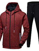 cheap -Men's 2-Piece Full Zip Tracksuit Sweatsuit 2pcs Winter Front Zipper Hooded Running Fitness Jogging Thermal / Warm Breathable Soft Sportswear Athletic Clothing Set Long Sleeve Activewear Micro-elastic