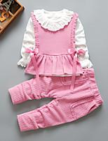 cheap -Kids Girls' Active School Daily Wear Print Print Long Sleeve Long Regular Clothing Set Blushing Pink