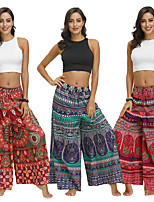 cheap -Women's Yoga Pants Harem Palazzo Wide Leg Print Red Brown Army Green Red Dance Fitness Gym Workout Bloomers Sport Activewear Lightweight Breathable Quick Dry Soft Stretchy Loose