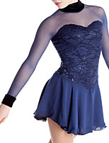 cheap -Figure Skating Dress Women's Girls' Ice Skating Dress Dark Blue Spandex High Elasticity Training Competition Skating Wear Handmade Patchwork Crystal / Rhinestone Long Sleeve Ice Skating Figure Skating