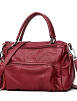 cheap -Women's Zipper Cowhide Top Handle Bag Black / Wine / Gray