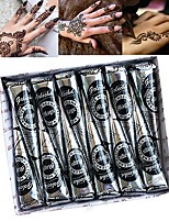cheap -12PCS Natural Black Mehndi Henna Cones Tattoo Paste for Temporary Tattoos Body Paint Skin Art