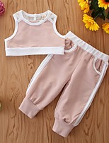 cheap -Baby Girls' Basic Color Block Sleeveless Short Clothing Set Blushing Pink