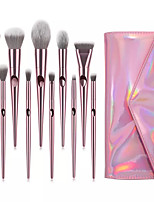 cheap -Miyaup 10 pink plastic handle diagonal outline brush with very beautiful bag girl super cute makeup brush