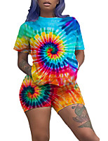 cheap -Women's 2-Piece Tracksuit Sweatsuit 2pcs Running Fitness Jogging Breathable Quick Dry Soft Sportswear Tie Dye Athletic Clothing Set Short Sleeve Activewear Micro-elastic Regular Fit / Rainbow