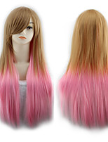 cheap -Synthetic Wig Straight Asymmetrical Wig Long Ombre Color Synthetic Hair 27 inch Women's Best Quality Ombre Mixed Color