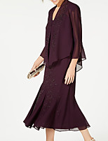 cheap -3/4 Length Sleeve Chiffon Wedding Women's Wrap With Beading / Ruching Coats / Jackets