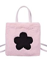 cheap -Women's Flower Rabbit Hair Crossbody Bag Floral Print White / Blushing Pink