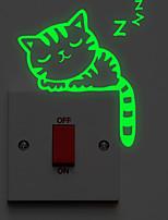abordables -doux autocollant interrupteur d'éclairage de chat endormi - stickers muraux lumineux / stickers muraux animaux animaux salle de bain / intérieur