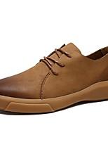 abordables -Homme Chaussures de confort Cuir Hiver Oxfords Noir / Kaki
