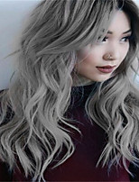 cheap -Synthetic Wig Curly kinky Straight Asymmetrical Wig Long Grey Synthetic Hair 27 inch Women's Best Quality Gray