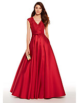 cheap -A-Line Plunging Neck Floor Length Satin Elegant Prom / Formal Evening Dress 2020 with Pleats / Lace Insert