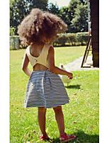 cheap -Kids Girls' Striped Dress Blue