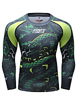 cheap -CODYLUNDIN Men's Round Neck Compression Shirt Running Shirt Running Base Layer Winter 3D Print Black Gray+White Green Red Black / White Running Active Training Jogging Top Long Sleeve Sport Activewear