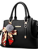 cheap -Women's Zipper PU Top Handle Bag Solid Color Black