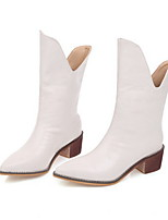 cheap -Women's Boots Chunky Heel Pointed Toe PU Booties / Ankle Boots Winter Black / White / Silver