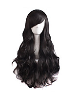 cheap -Synthetic Wig Curly kinky Straight Asymmetrical Wig Long Natural Black Synthetic Hair 27 inch Women's Best Quality Black