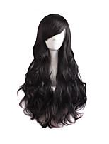 abordables -Perruque Synthétique Bouclé Droit crépu Coupe Asymétrique Perruque Long Noir Cheveux Synthétiques 27 pouce Femme Meilleure qualité Noir