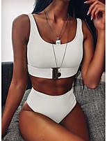 cheap -Women's Black White Fuchsia Bikini Swimwear - Solid Colored S M L Black