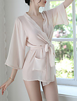 cheap -Women's Lace / Mesh Gartered Lingerie / Robes / Suits Nightwear Patchwork / Solid Colored Black Camel S M L