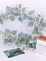 abordables -simulation feuille plante de vigne vigne mariage maison tentures murales rotin vert mur de plantation 1 pack