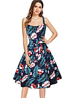 cheap -The Marvelous Mrs. Maisel Retro Vintage 1950s Wasp-Waisted Dress Women's Spandex Cotton Costume Black / Yellow / Blue Vintage Cosplay Party Daily Wear Sleeveless Knee Length