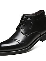 cheap -Men's Leather Shoes Nappa Leather Spring / Fall & Winter Business / Casual Oxfords Walking Shoes Warm Black / Dark Brown / Party & Evening