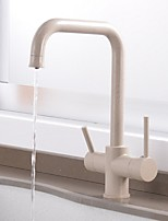 cheap -Kitchen faucet - Two Handles One Hole Electroplated Standard Spout Centerset Contemporary Kitchen Taps