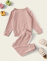 cheap -Baby Girls' Street chic Striped Long Sleeve Regular Clothing Set Blushing Pink
