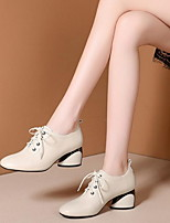 cheap -Women's Boots Chunky Heel Round Toe PU Booties / Ankle Boots Winter Black / Beige / Khaki