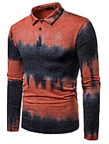 cheap -Men's Daily Basic Polo - Color Block Print Orange