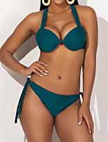 cheap -Women's Basic Green Underwire Cheeky Tie Side Bikini Swimwear - Solid Colored Tassel Fringe S M L Green