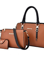 cheap -Women's Zipper Cowhide / PU Bag Set Solid Color 3 Pcs Purse Set Black / Brown / Blushing Pink