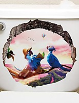 cheap -Interesting Animals Toilet Stickers - Animal Wall Stickers Landscape / Animals Bathroom / Kids Room