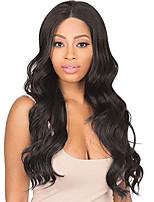 abordables -Perruque Lace Front Synthétique Ondulé Partie médiane Lace Frontale Perruque Long Noir Naturel Cheveux Synthétiques 18-26 pouce Femme Cosplay Doux Ajustable Noir