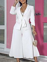 abordables -Femme Blazer, Couleur Pleine Col de Chemise Coton Blanche