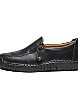 cheap -Men's Moccasin Cowhide Fall & Winter Loafers & Slip-Ons Black / Light Brown / Dark Brown