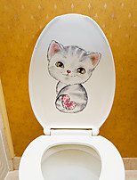 cheap -Cute Cat Toilet Stickers - Animal Wall Stickers Animals / Shapes Bathroom / Kids Room